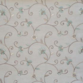 Captivate - Azure - White fabric with azure blue country floral pattern