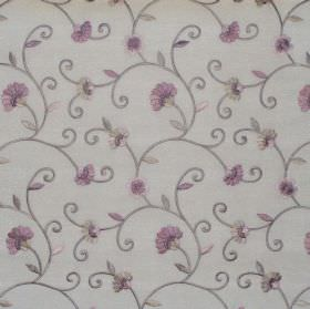 Captivate - Lavender - White fabric with lavender purple country floral pattern