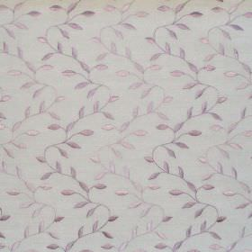 Intrigue - Lavender - White fabric with lavender purple zigzag foliage pattern