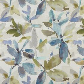 Azzuro  - Lagoon - Fabric made from 100% polyester in white behind blue and khaki green leaves printed with a watercolour style effect