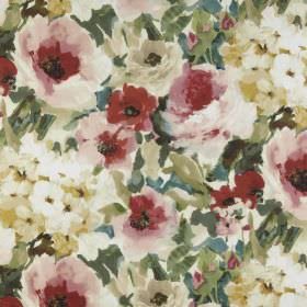 Lucido - Antique - Vintage style red and pink roses with creamy beige flowers and shaded green leaves on fabric made from 100% polyester