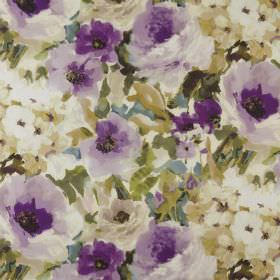 Lucido - Orchid - Floral patterned 100% polyester fabric featuring a vintage style design in shades of green, cream, beige and purple