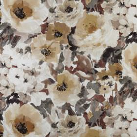 Lucido - Umber - Flowers and leaves printed in various different grey, brown, caramel and beige shades on 100% polyester fabric