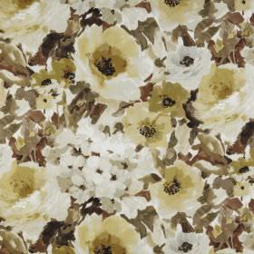 Lucido - Willow - 100% polyester fabric covered with vintage style floral patterns in golden brown, beige and light grey shades