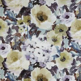 Lucido - Lagoon - Shaded beige roses with smaller pale lilac flowers and grey-blue leaves scattered over fabric made from 100% polyester