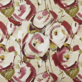 Marsella - Antique - Stylised burgundy and cream coloured roses printed with light green leaves on 100% polyester fabric in cream