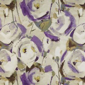 Marsella - Orchid - Fabric made from cream coloured 100% polyester, printed with stylised roses in purple and cream and green leaves