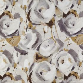 Marsella - Umber - Several shades of grey making up a stylised rose print pattern along with light brown leaves on 100% polyester fabric