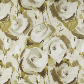 Marsella - Willow - 100% polyester fabric covered with a stylised rose and leaf design in various different shades of olive green and cream