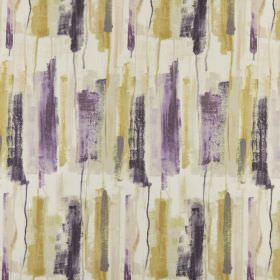 Adria - Orchid - White 100% polyester fabric patterned with paintbrush style strokes in shades of purple, beige and olive green