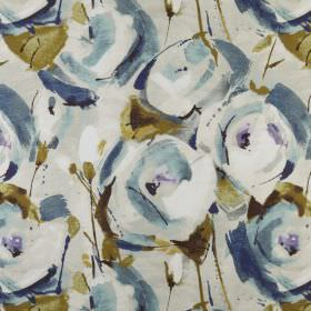 Marsella - Lagoon - Blue, white and grey shaded stylised roses with olive green leaves printed on pale grey 100% polyester fabric