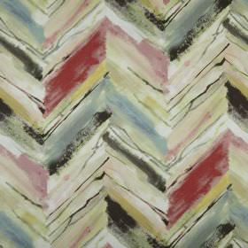 Vito - Antique - Uneven, roughly printed horizontal zigzags inred, beige, blue, pink and grey on fabric made entirely from polyester