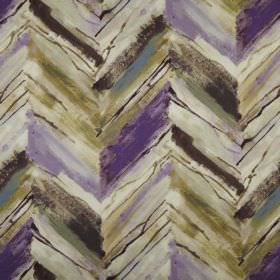 Vito - Orchid - Purple, off-white, olive green, black and blue zigzags printed roughly and unevenly on 100% polyester fabric