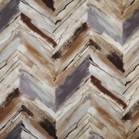 Vito - Umber - Zigzag patterned 100% polyester fabric featuring a roughly printed, uneven design in several rich shades of brown & grey