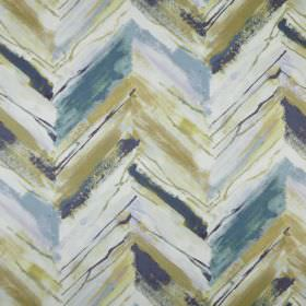 Vito - Lagoon - Fabric made from light blue, green and cream coloured polyester, with a rough, uneven horizontal zigzag print pattern