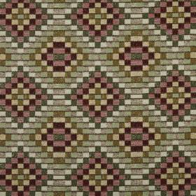 Piccola - Antique - Mosaic style geometric pattern made of squares of green, white, yellow, purple and pink on 100% polyester fabric