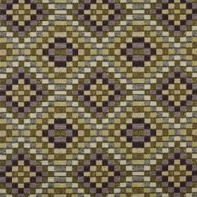 Piccola - Orchid - 100% polyester fabric covered with a mosaic style geometric pattern made up of small squares in shades of green and grey