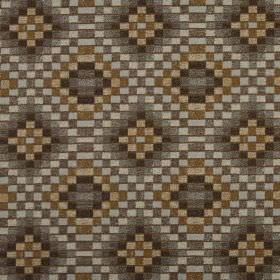 Piccola - Umber - Various different brown and grey coloured squares making up a mosaic style geometric pattern on 100% polyester fabric