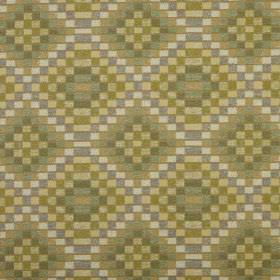 Piccola - Willow - Fabric made from 100% polyester in shades of olive green, patterned with a mosaic style geometric print design