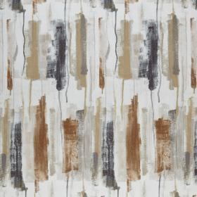 Adria - Umber - Several shades of brown and slate grey making up a paintbrush stroke style design on white fabric made from 100% polyester