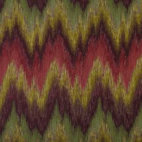 Santorini - Antique - Roughly coloured, unevenly spaced and sized zigzags inpurple, strawberry, dusky green and gold on 100% polyester fabr