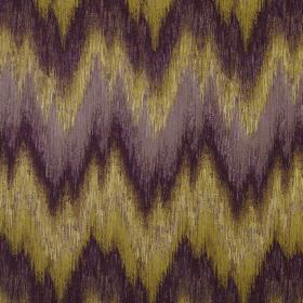 Santorini - Orchid - 100% polyester fabric covered with unevenly spaced and sized rough zigzags in shades oflavender, dark purple and gold