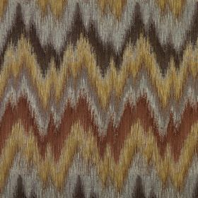 Santorini - Umber - Zigzag patterned 100% polyester fabric made in shades of brown and grey with a design that