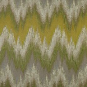 Santorini - Willow - Shades of green, gold and grey making up a rough, uneven zigzag pattern on fabric made entirely from polyester