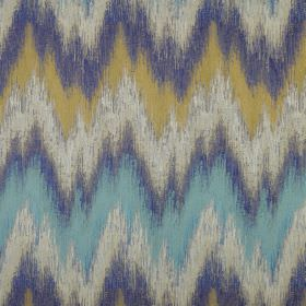 Santorini - Lagoon - Fabric made from zigzag patterned polyester with a rough, uneven design in gold, light gey, aqua blue and navy blue