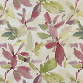 Azzuro  - Antique - Watercolour style leaves printed in green, cream and reddish pink on a white 100% polyester fabric background
