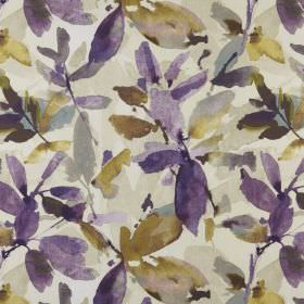 Azzuro  - Orchid - White 100% polyester fabric behind a watercolour style leaf design in shades of purple, khaki green, light grey & cream