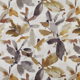 Azzuro  - Umber - Leaf print patterned 100% polyester fabric featuring a watercolour style design in shades of brown and grey