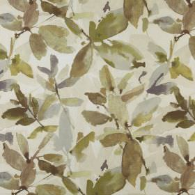 Azzuro  - Willow - Various shades of khaki and olive green making up a watercolour style leaf design on 100% polyester fabric in white