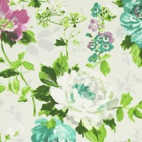 Luciano - Hyacinth - Floral print cotton fabric in bright shades of green, with some pink-purple, white and cream