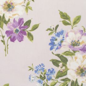 Rosabella - Amethyst - Very pale grey cotton fabric featuring a design of cream, blue and purple flowers and green leaves