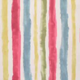 Ionia - Pomegranate - Roughly, unevenly striped cotton fabric in white, red, dusky blue, yellow and green