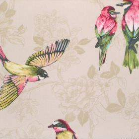 Paradiso - Pomegranate - Cotton fabric in beige with a very subtle floral pattern, decorated with a design ofbirds shaded in pink-red and g