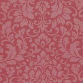 Carlotti - Pomegranate - Dusky red fabric made from cotton, with a design of leafy swirls in a pink-red shade