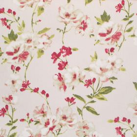 Sophia - Pomegranate - Green leaves with bright red and cream coloured florals patterning cotton fabric in an off-white colour
