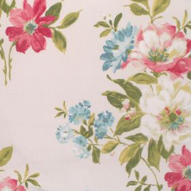Rosabella - Pomegranate - Off-white coloured fabric made of cotton, printed with a large floral pattern in pink, blue and cream, with green