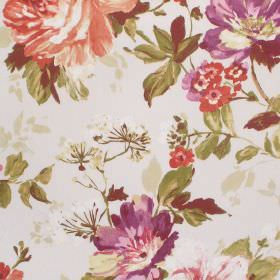 Luciano - Autumn - Vintage inspired floral print cotton fabric featuring shades of purple, green, cream and orange-red