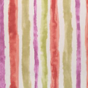Ionia - Autumn - White cotton fabric printed with rough, uneven stripes in green, pink-purple and terracotta colours
