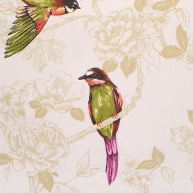 Paradiso - Autumn - Cream coloured cotton fabric with a very subtle gold floral pattern, beneathpurple, green and orange shaded birds