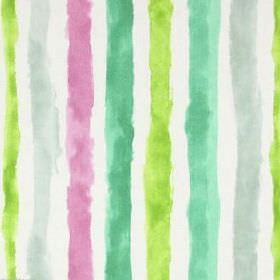 Ionia - Hyacinth - Stripes which are rough and uneven in several bright and pale shades of green, with pink, on white cotton fabric