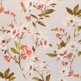 Sophia - Autumn - Cotton fabric in very pale grey, printed with small flowers in orange and cream, with leaves and stems in green