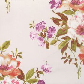 Rosabella - Autumn - Realistic florals printed on white cotton fabric in shades of pink-orange, purple and green