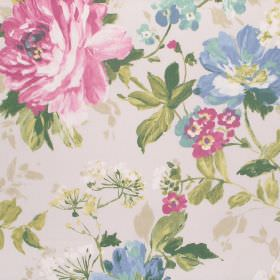 Luciano - Rose - Cotton fabric in cream, printed with large flowers in pink and blue, and green leaves