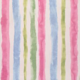 Ionia - Rose - Pink, green and blue stripes which are rough and uneven on a white background made from cotton fabric