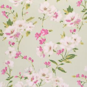 Sophia - Rose - Pale green fabric made from cotton, with a floral design featuring green leaves and pink and cream coloured flowers