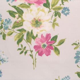 Rosabella - Rose - A design of pink, cream, blue and green floral print on off-white coloured cotton fabric